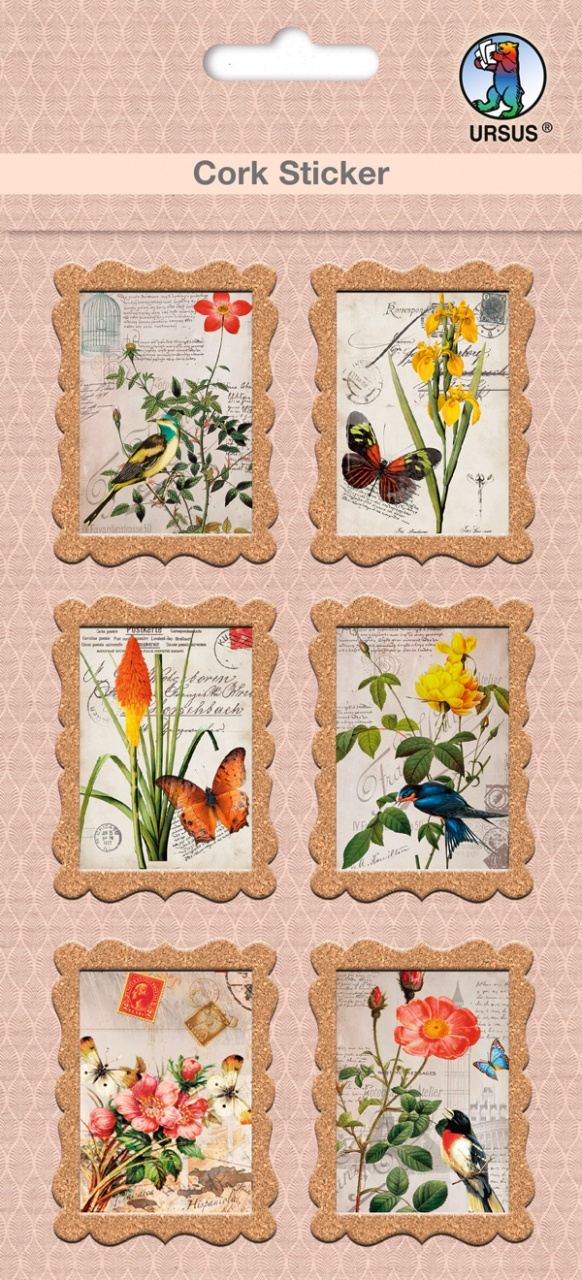 Cork Sticker Briefmarke Flora & Fauna