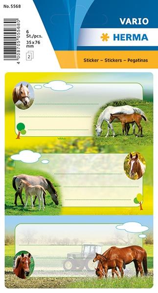 Herma Buch-Etiketten Pferde mit Glimmer