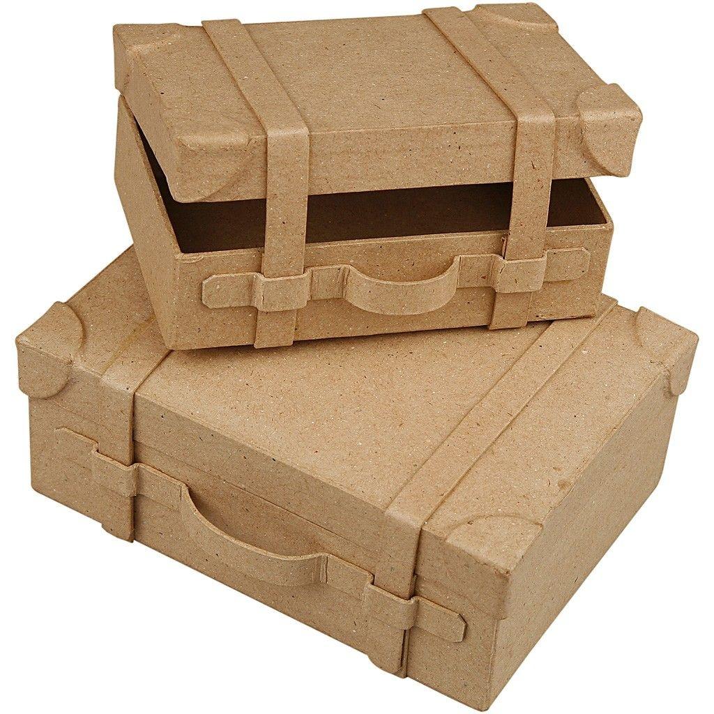 Pappmachè Koffer-Set 2 Stück zum Selbstgestalten