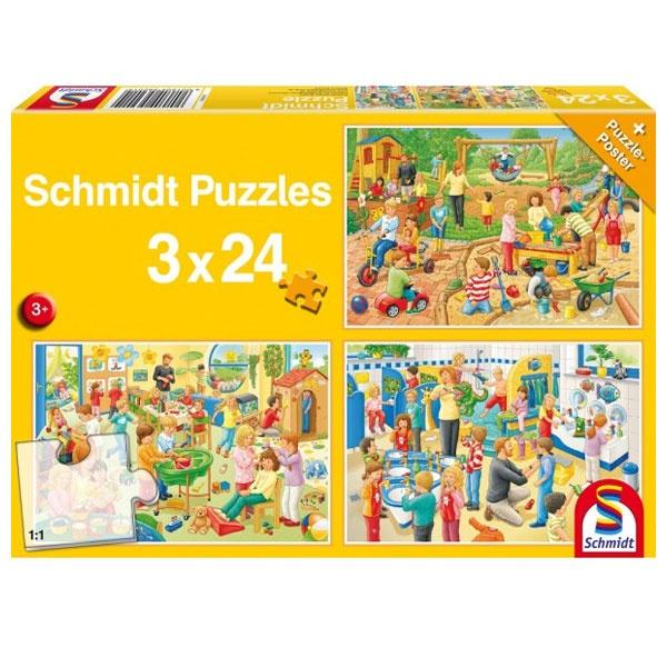Puzzle Ein Tag im Kindergarten 3x24 Teile