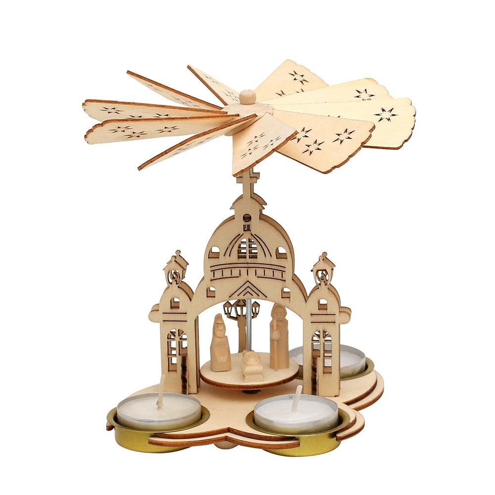Weihnachtspyramide Kirche für 3 Teelichte