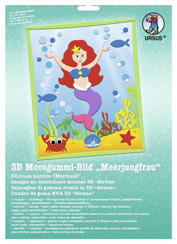 Bastelmappe Moosgummi-Bild 3D Meerjungfrau