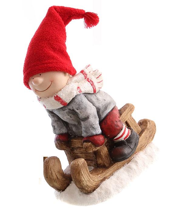 Dekofigur Winterkind aus Schlitten Junge XXL 45 cm