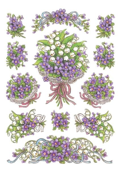 Herma Schmucketikett Decor Blumenstrauß Veilchen
