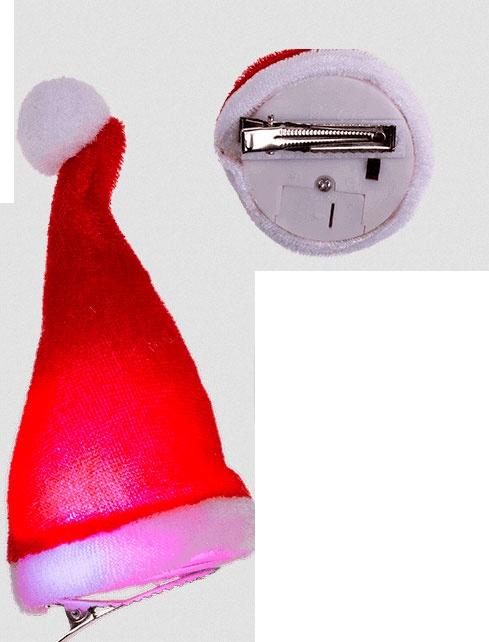 Plüsch-LED Weihnachtsmütze mit Haarclip ca. 12cm