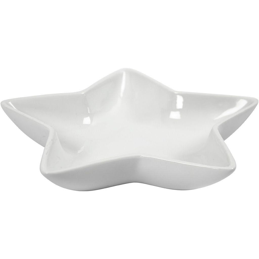 Deko-Schale Stern 20 x 20 x 3 cm weiß
