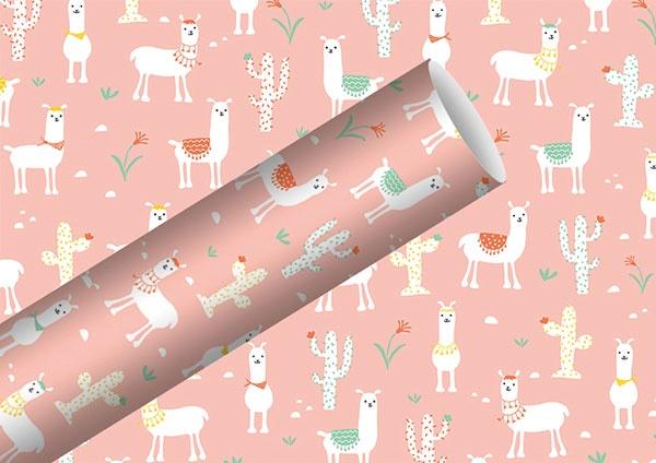 Geschenkpapier Lama rosa