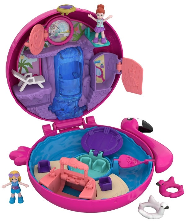 Polly Pocket World Flamingo-Schwimmring Schatulle FRY38