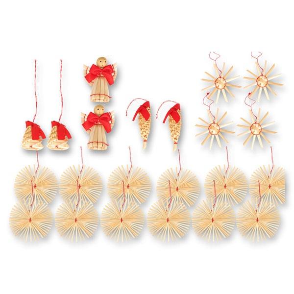 24 Weihnachtsanhänger aus Stroh
