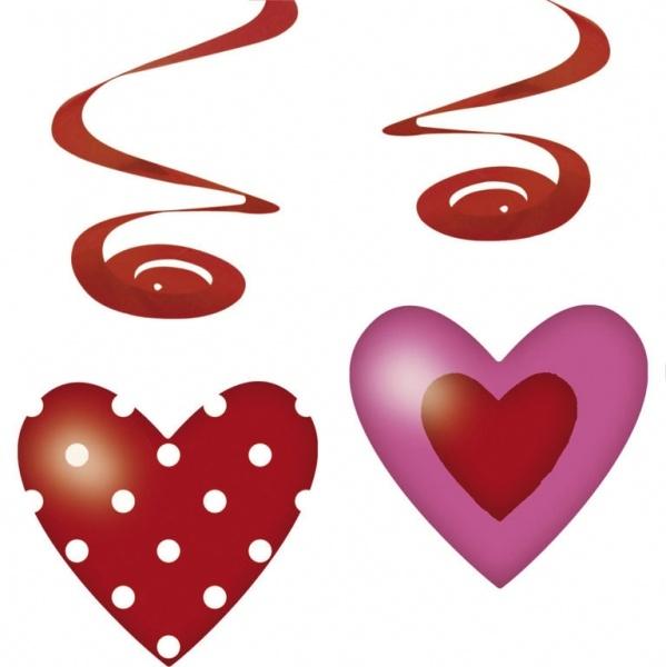 Dekospiralen mit Herzen Sweet Love, 4er