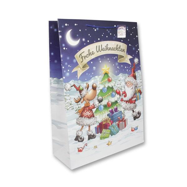 Papiertüte Comic Santa und Rentier 45,5x17,5x62cm
