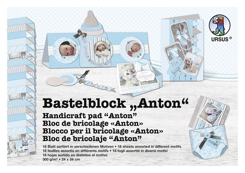 Bastelblock Anton blau