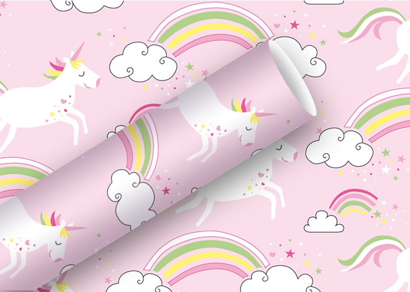 Geschenkpapier Unicorn rosa