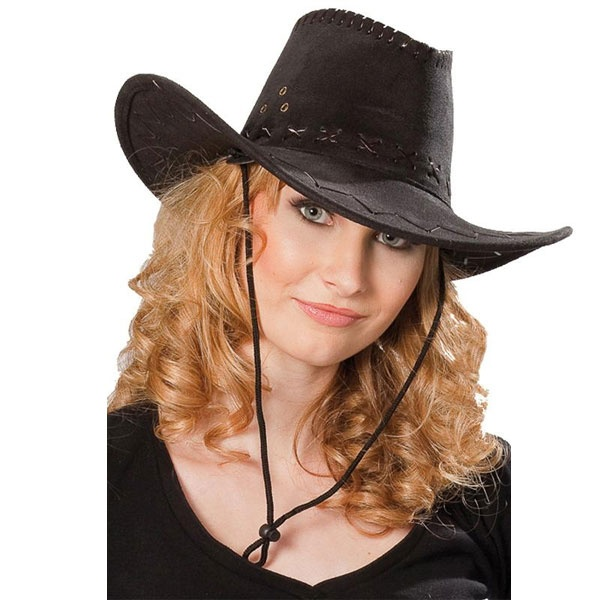 Kostüm-Zubehör Cowboyhut Wildlederoptik schwarz