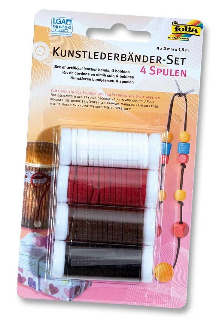 Folia Kunstlederbänder-Set 4 Spulen 4 Farben