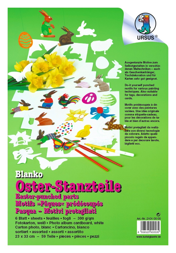 Blanko Oster-Stanzteile 6Bl.,59Stck., sort.