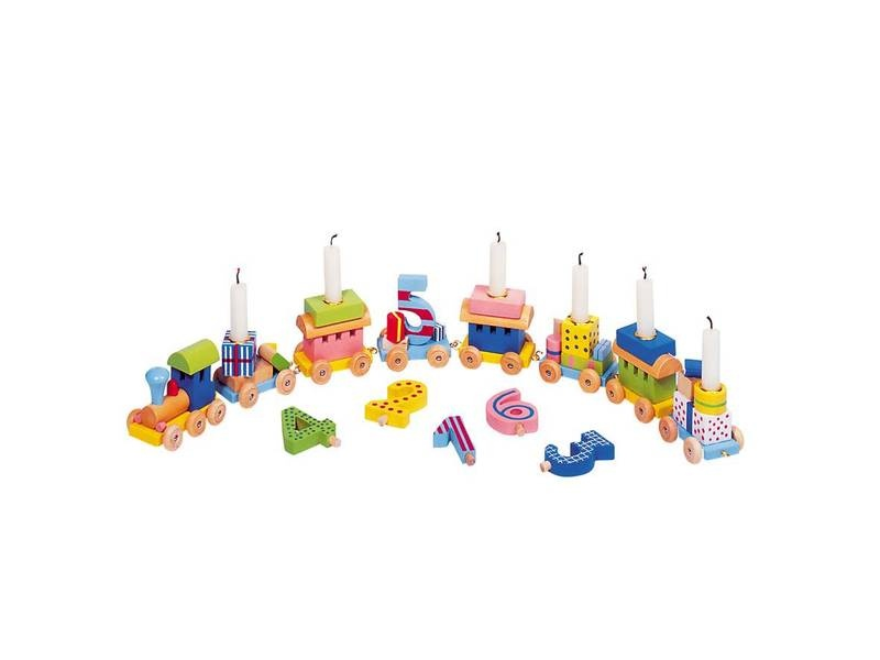 Geburtstagszug Lok mit 7 Anhängern und Zahlen 1 - 6