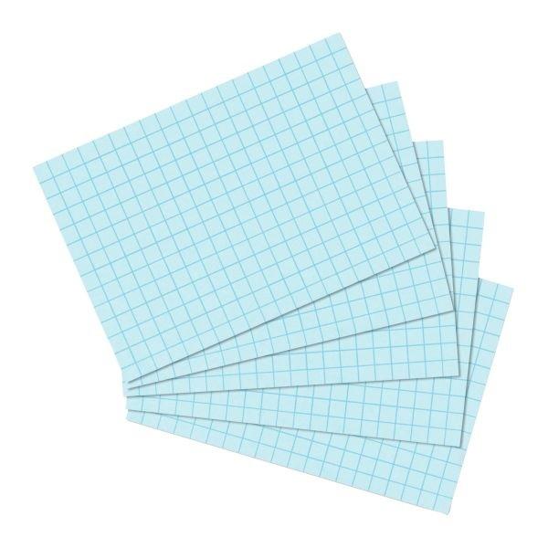 Karteikarten A6 100 Stück kariert blau