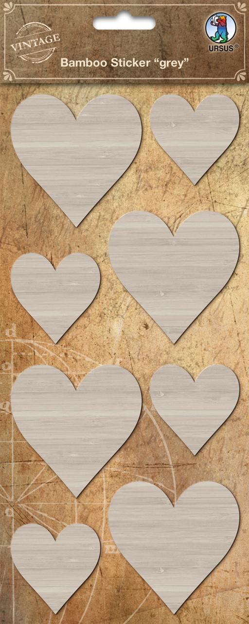 Bambus Sticker grey Herz