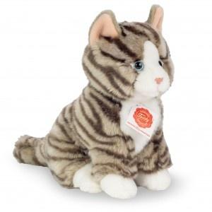 Teddy Hermann Plüschtier Katze sitzend grau getigert 21 cm