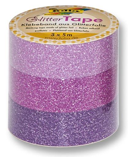 Folia Glitter-Tape 3 Rollen  rosa/pink/lila