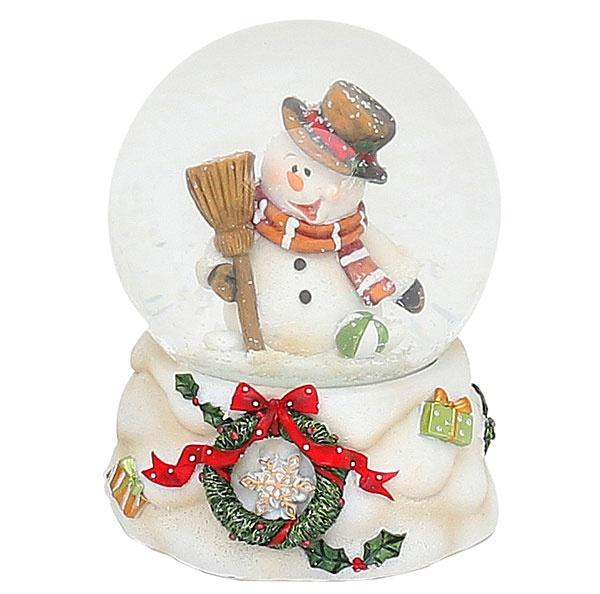 Schneekugel Schneemann mit Hut 10 cm