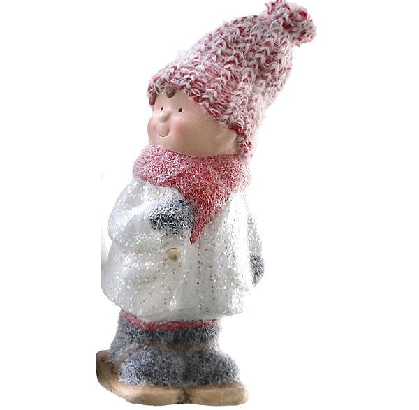 Dekofigur Winterkind Winter-Kind mit Mütze Junge 17,5 cm