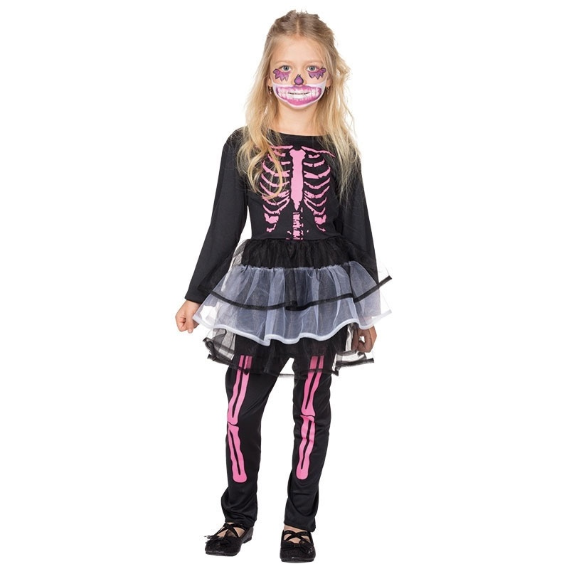 Kostüm Skelett Kleidchen mit Leggins 116
