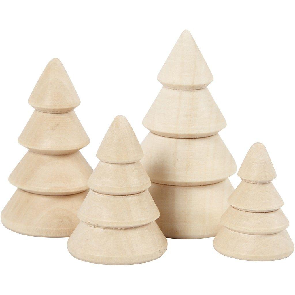 Weihnachtsbäume 4 Stück Holz