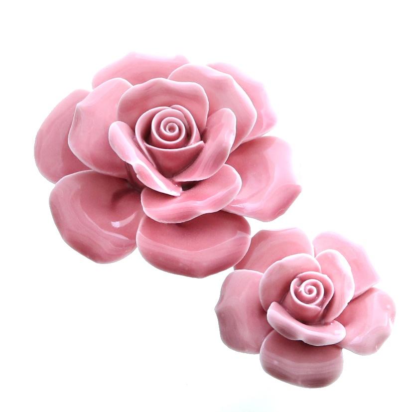 Deko-Rose pink glänzend 8 cm Hochzeitsdekoration