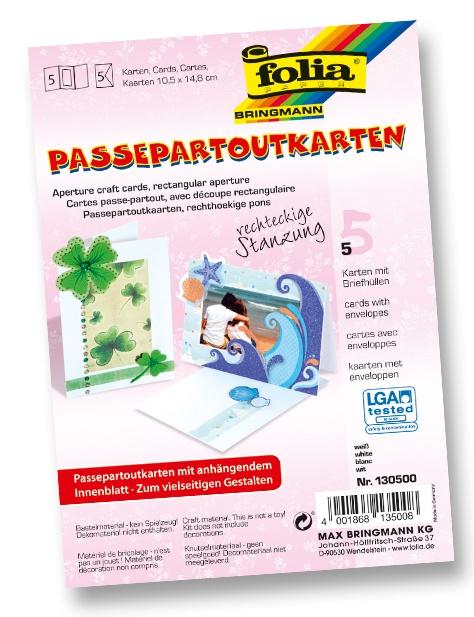 Folia Passepartout Karten-Set rechteckige Stanzung weiß