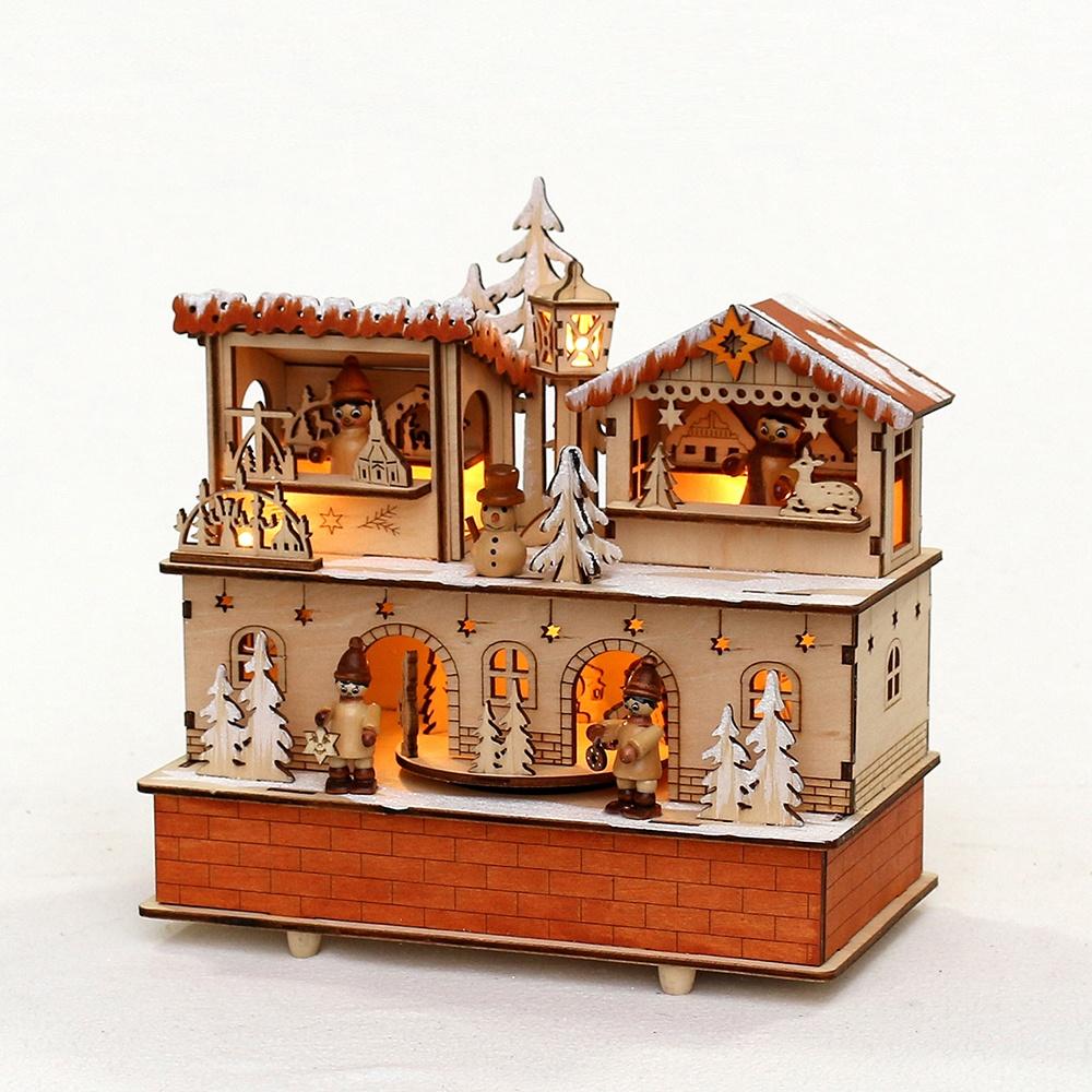 Weihnachtshaus Weihnachtsmarkt mit Spieluhr und Beleuchtung