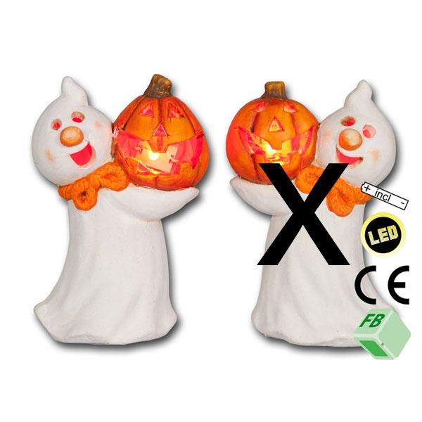 Halloween-Dekoration Geist mit LED Kürbis links