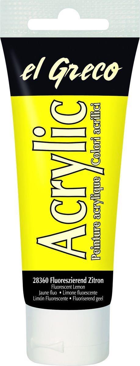 El greco Acrylic Acrylfarbe Fluoreszierend Zitron 75ml