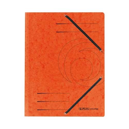 Einschlagmappe A4 mit drei Klappen und Gummizug orange