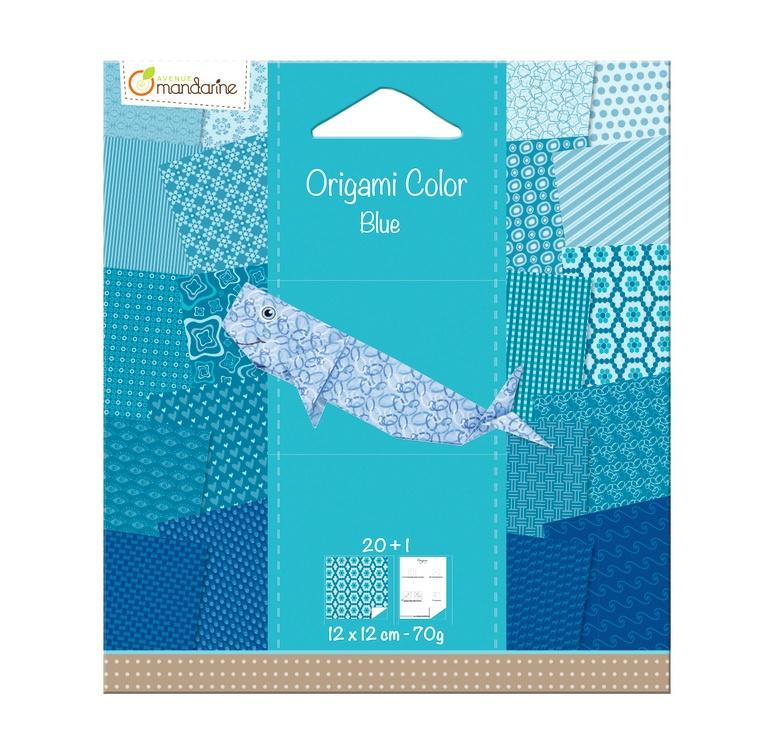 Avenue Mandarine Origami Papier Urban 12 x 12 cm blau