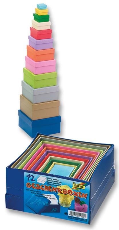 Folia Geschenkboxen eckig farbig 12 Stück