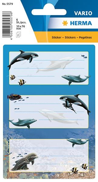 Herma Buch-Etiketten Delfine mit Glimmer
