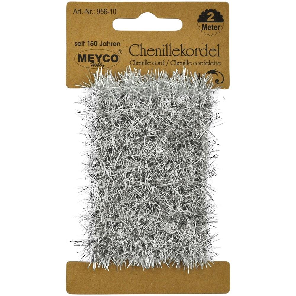 Bastelmaterial Chenillekordel metallic silber