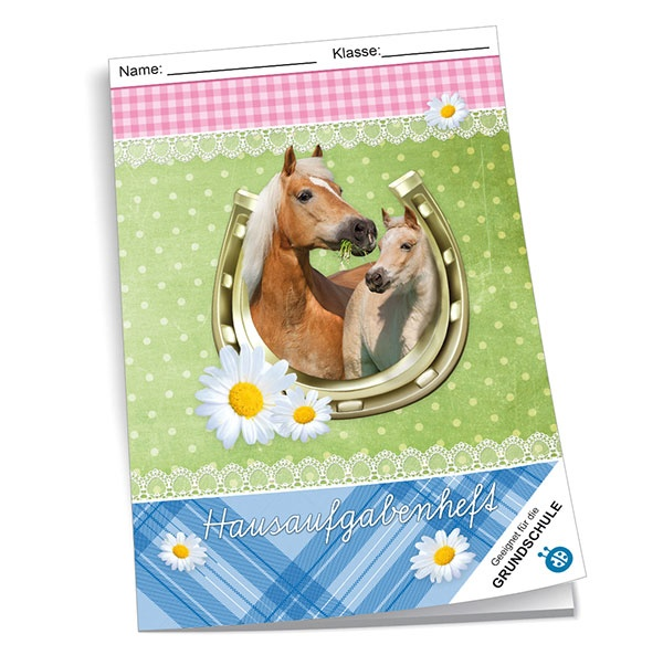 Hausaufgabenheft Grundschule Pferde