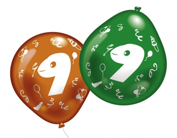 Luftballons mit Zahl 9 10 Stück