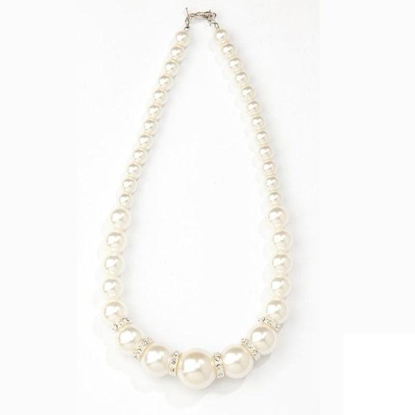 Kostüm-Zubehör Perlenkette Deluxe weiß