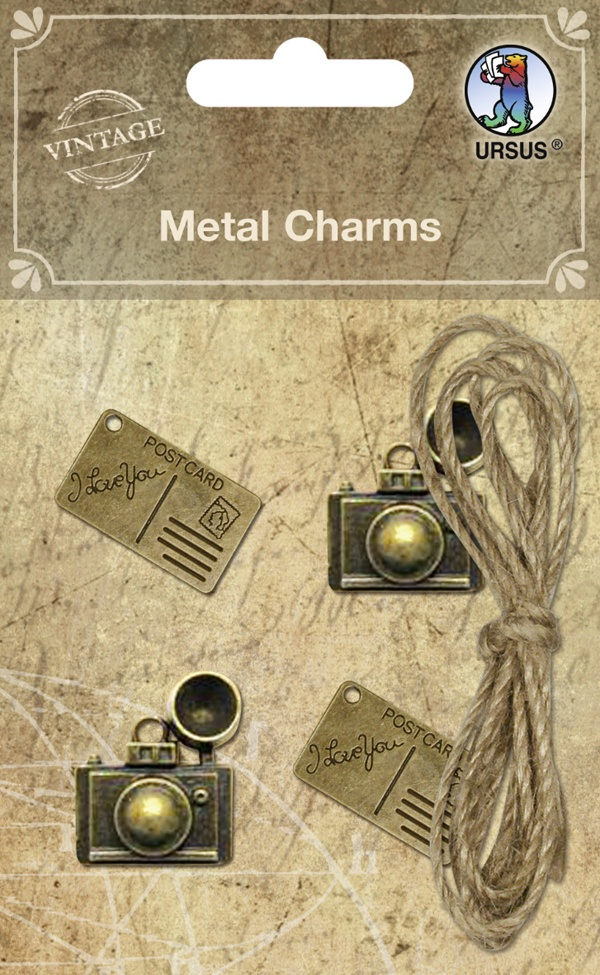 Vintage Metal-Charm Metallanhänger & Hanfgarn Motiv 02