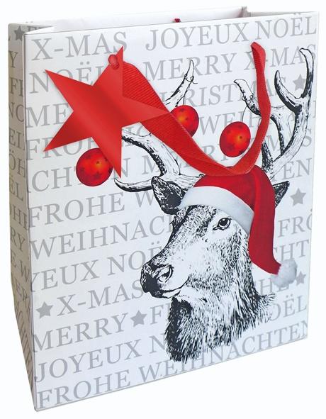 Geschenktasche Weihnachten Hirsch 18 x 21 cm
