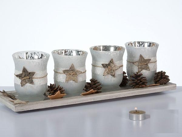 Teelicht-Tischdekoration 4er Adventstablett 45 cm