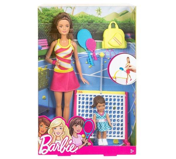Barbie Puppe Tennis-Lehrerin und Schülerin