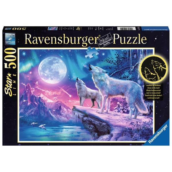Puzzle Wolf im Nordlicht 500 Teile von Ravensburger