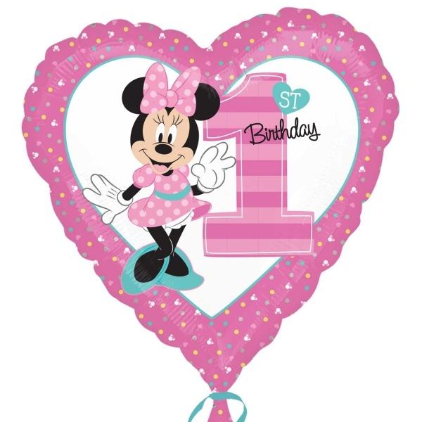 Folienballon 1st Birthday 43 cm erster Geburtstag Herz