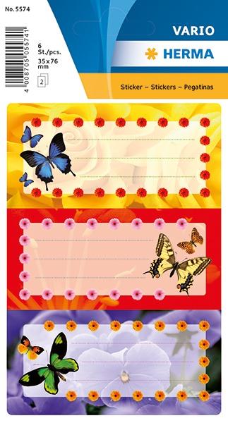 Herma Buch-Etiketten Schmetterlinge mit Glimmer