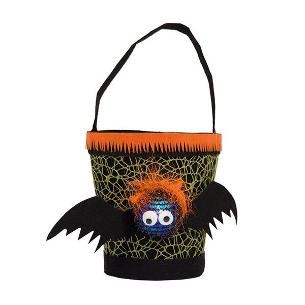 Kostüm-Zubehö Trick or Treat Eimerchen mit LED Spinne orange